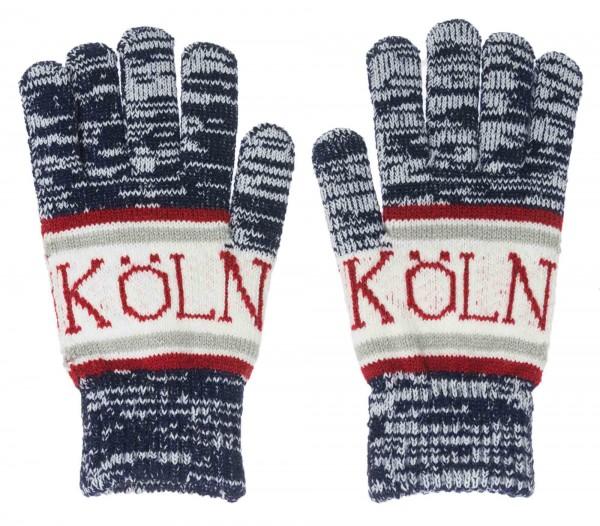 Blau melierte Köln Handschuhe