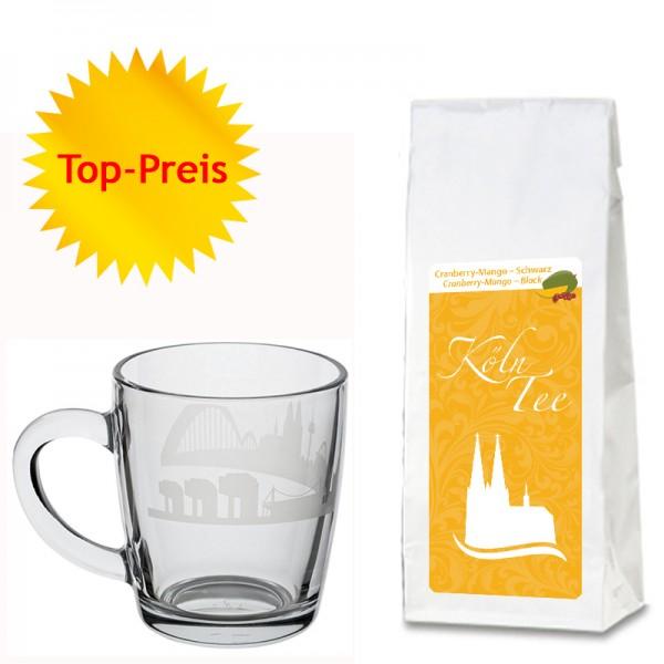 Geschenkset Cranberry-Mango-Schwarztee und edle Glas-Tasse mit Kölner Skyline