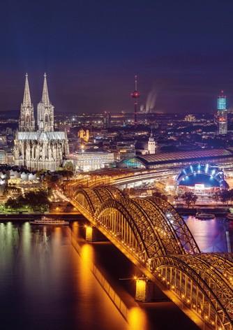 Köln Poster - Dom & Hohenzollernbrücke bei Nacht