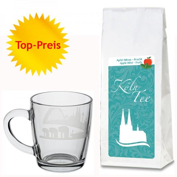 Geschenkset Apfel-Minze-Kräutertee und edle Glas-Tasse mit Kölner Skyline