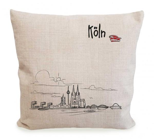 Sofakissen mit Kölner Skyline