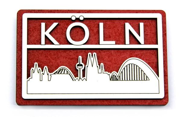 3D Holzmagent Köln Skyline rechteckig