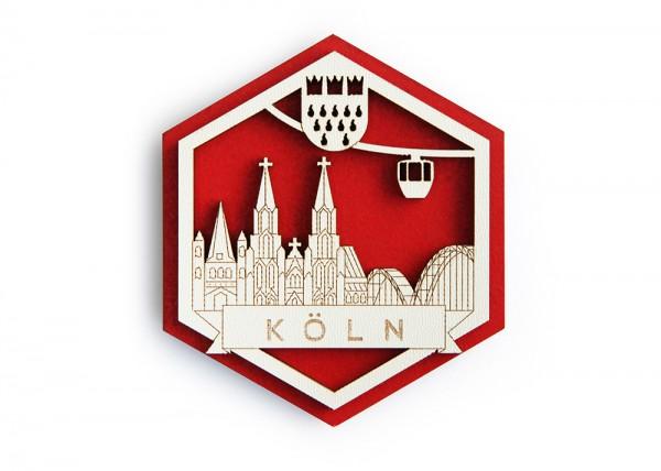 3D Hexagon Holzmagnet Kölner Seilbahn
