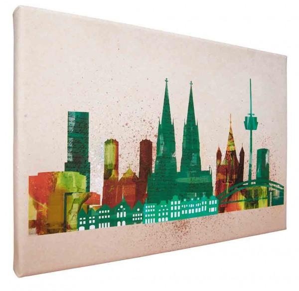 Leinwand Bild Köln Skyline Collage green