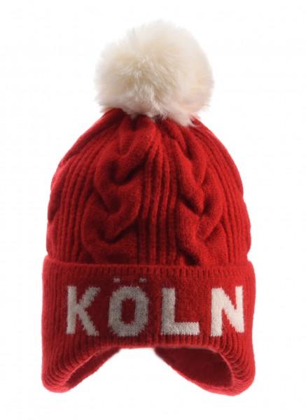 Köln Bommelmütze, rot / weiß