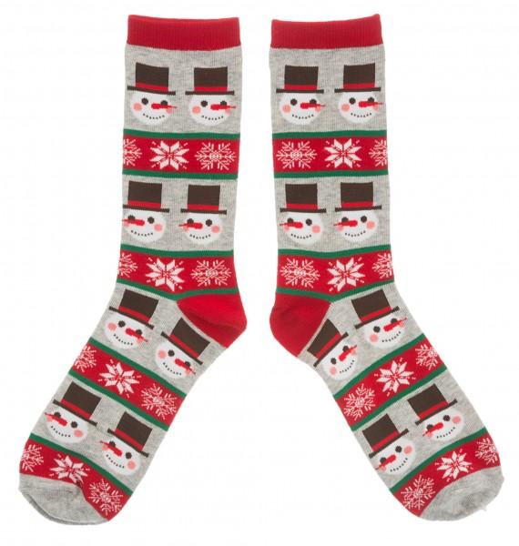 Weihnachtssocken Schneemann, rot/braun