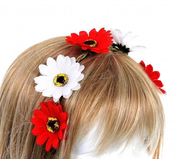 Haarband Blumen, rot/weiß