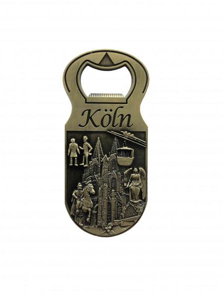 Flaschenöffner-Magnet 3D Reliefbild Köln, gold
