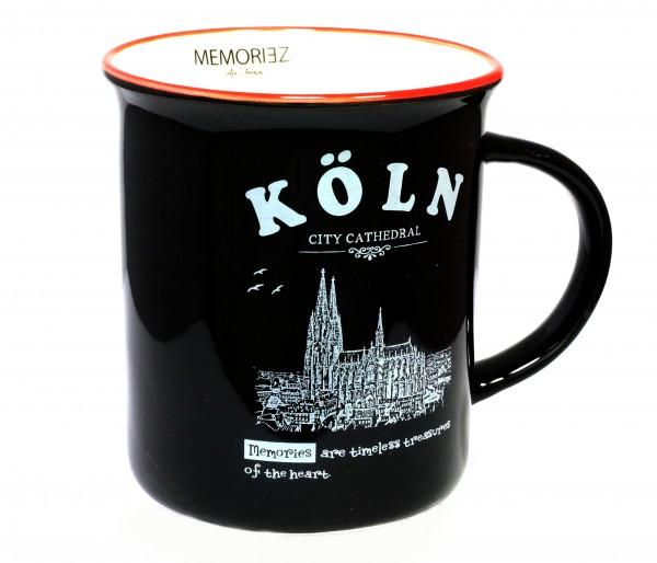 Kaffeetasse mit Kölner Dom in schwarz, Englisch