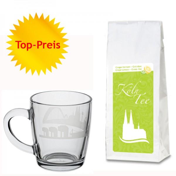 Geschenkset Grape-Lemon-Grüntee und edle Glas-Tasse mit Kölner Skyline