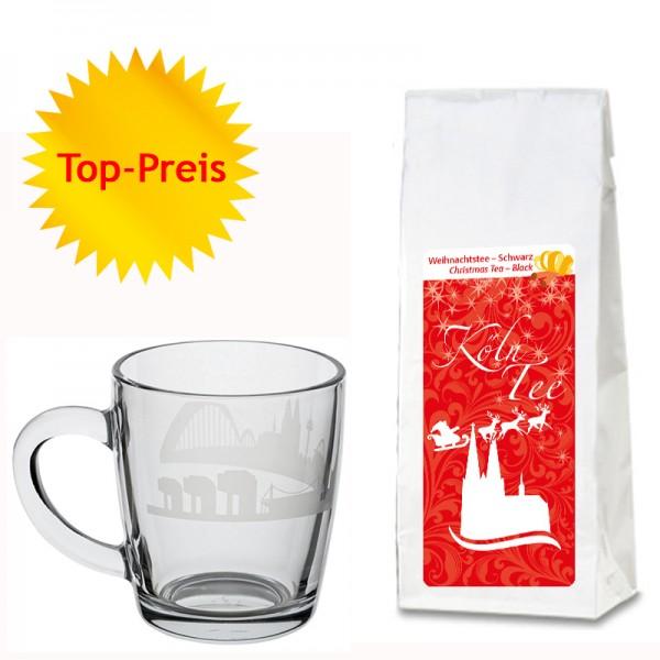 Geschenkset Weihnachtstee und Köln-Tasse aus Glas
