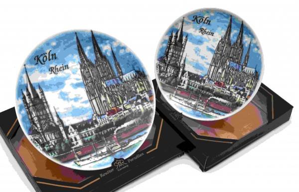 Deko Teller Köln am Rhein I Altstadtpanorama