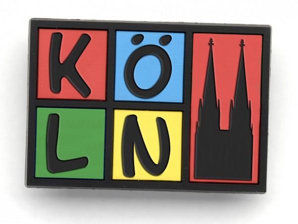 Magnet Köln, schwarz-bunt, gummiert