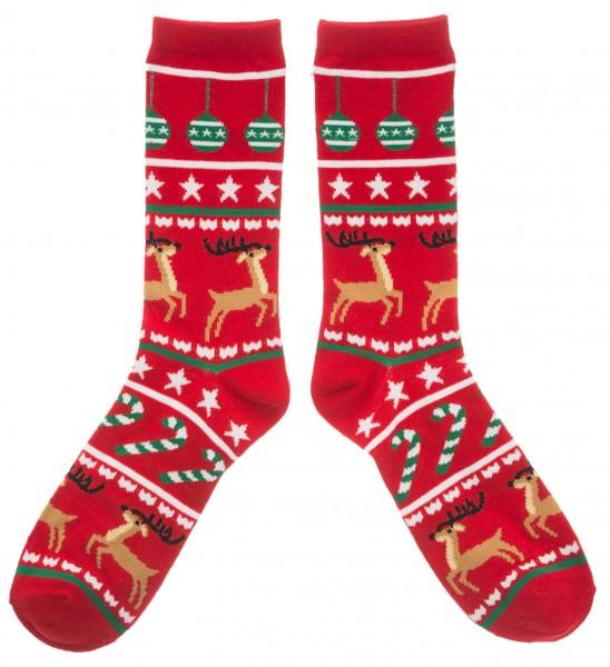 Weihnachtssocken Rentiere, rot/grün