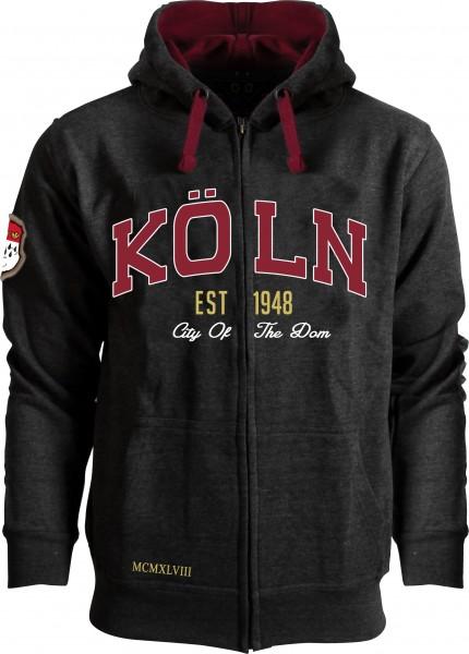 Köln Sweatjacke, grau/bordeaux
