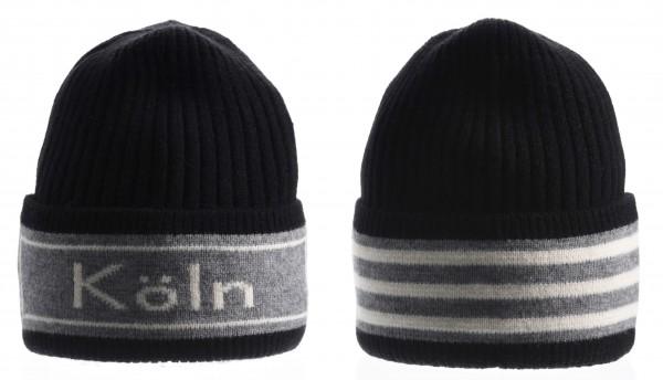 Köln Ringel-Mütze, schwarz /grau