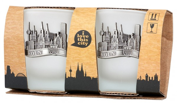 Schnapsglas mit Kölner Skyline, 2er Set