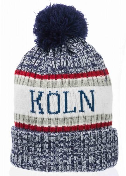 Blaue oder bordeauxfarben melierte Köln Mütze mit Bommel