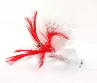 Haarclip Feder Strass weiß/rot