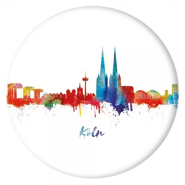 Button Köln Skyline, weiß/neon