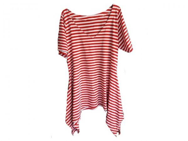 Ringel Tunika/Kleid, rot-weiß
