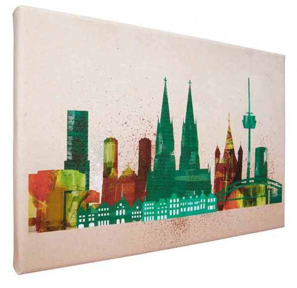 Leinwand Bild Köln Skyline Collage green