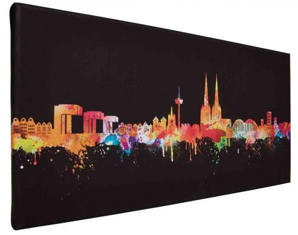 Leinwand Bild Köln Skyline neon