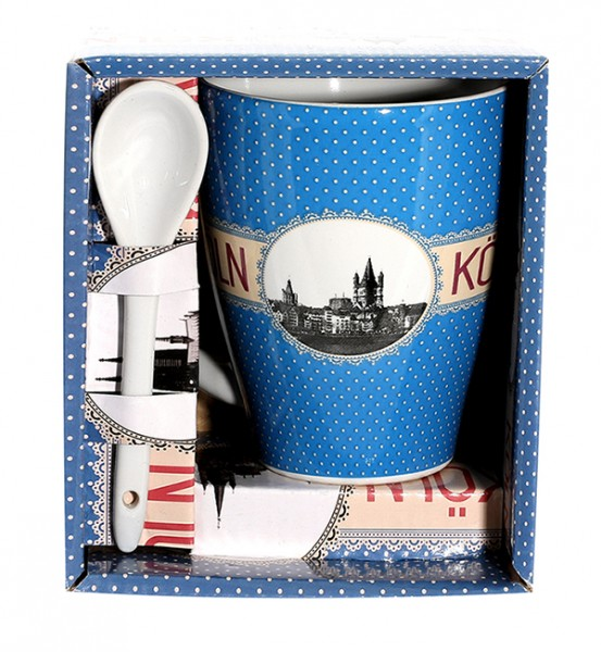 Kaffeetasse Polka-Dots, blau