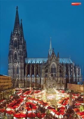 Poster Kölner Dom und Weihnachtsmarkt