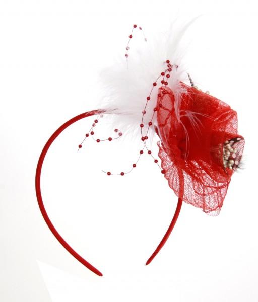 Haarreif Feder rot