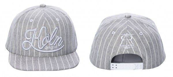 Köln Cap, grau-weiß gestreift
