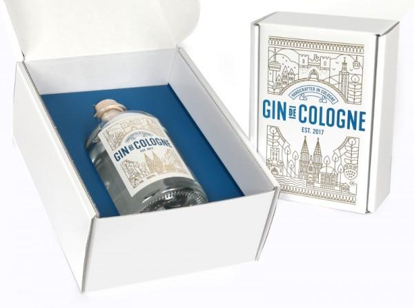 Präsent Box für Gin de Cologne, für 500 ml, blau