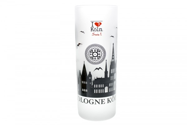 """I love Köln"" Schnapsglas Kölner Skyline"