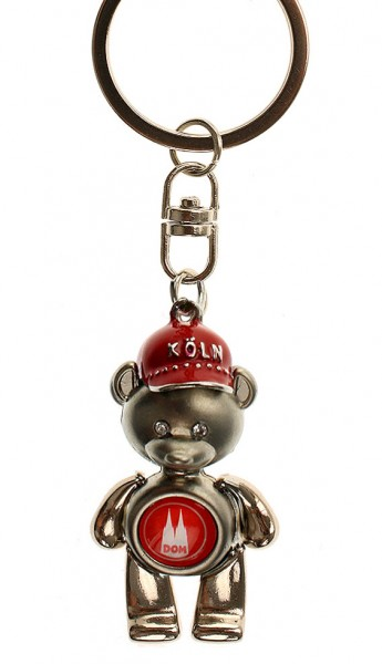Schlüsselanhänger Köln, Bär mit Cap, drei Farben