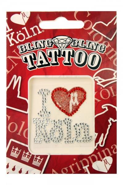 """""""I love Köln"""" Tattoo mit Glitzersteinchen"""